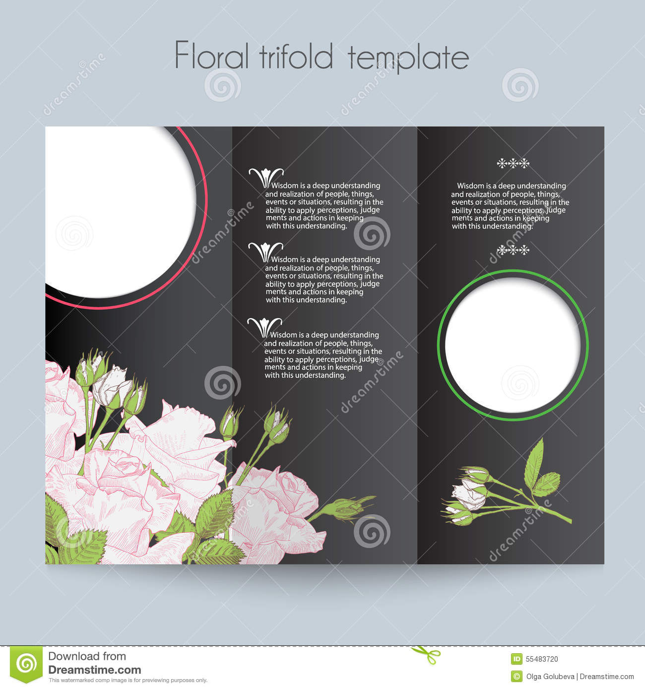floral roses template  tri