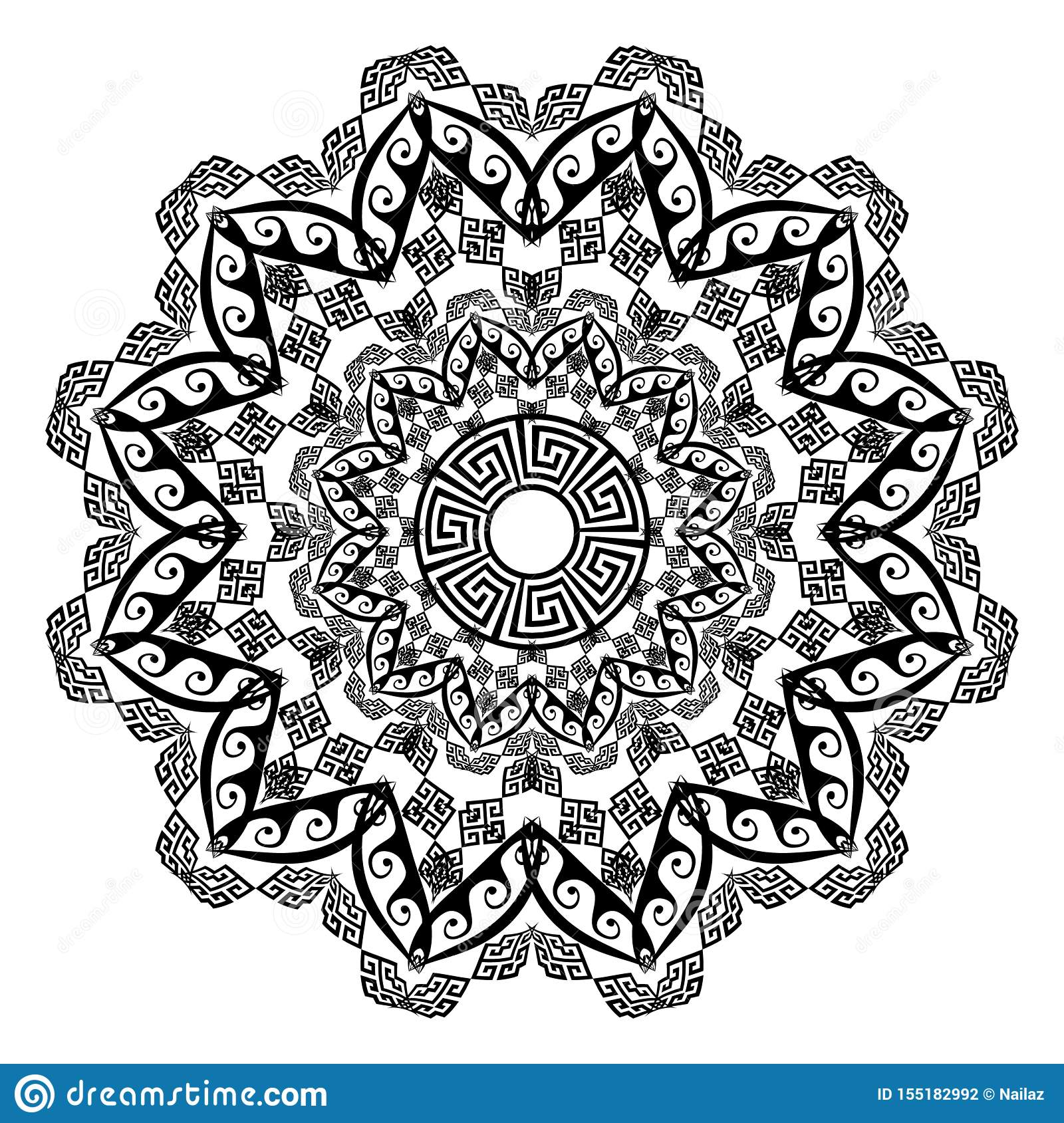 Floral round ethnic mandala ornament. Vector greek key meander pattern on the white background.