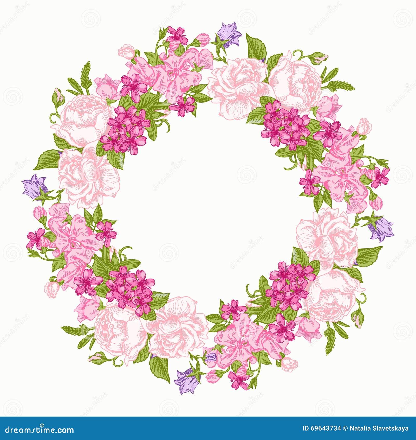 afd2ef0b7 Floral round frame. stock vector. Illustration of decor - 69643734