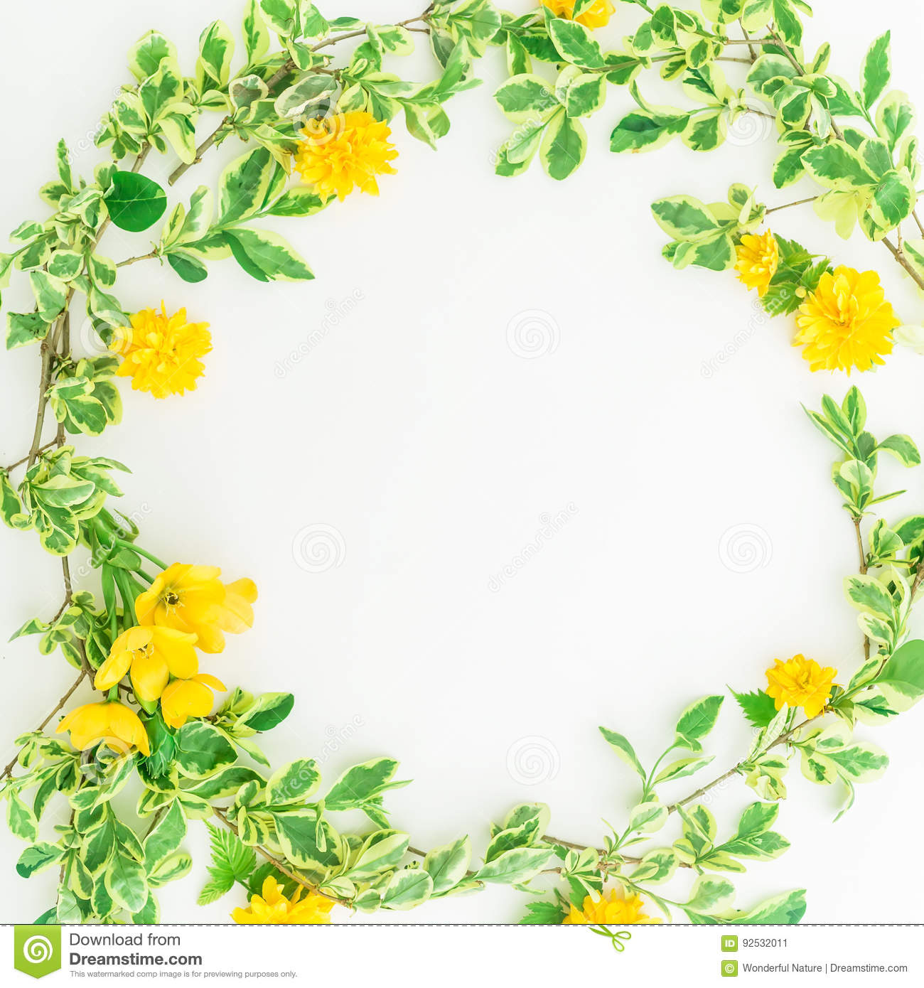 Floral Round Frame Made Of Branches With Leaves And Yellow Flowers