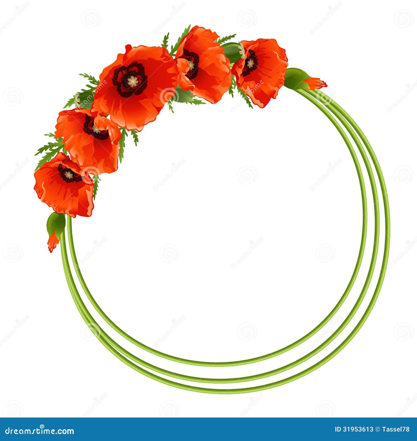 Floral round frame stock vector. Illustration of leaf ...