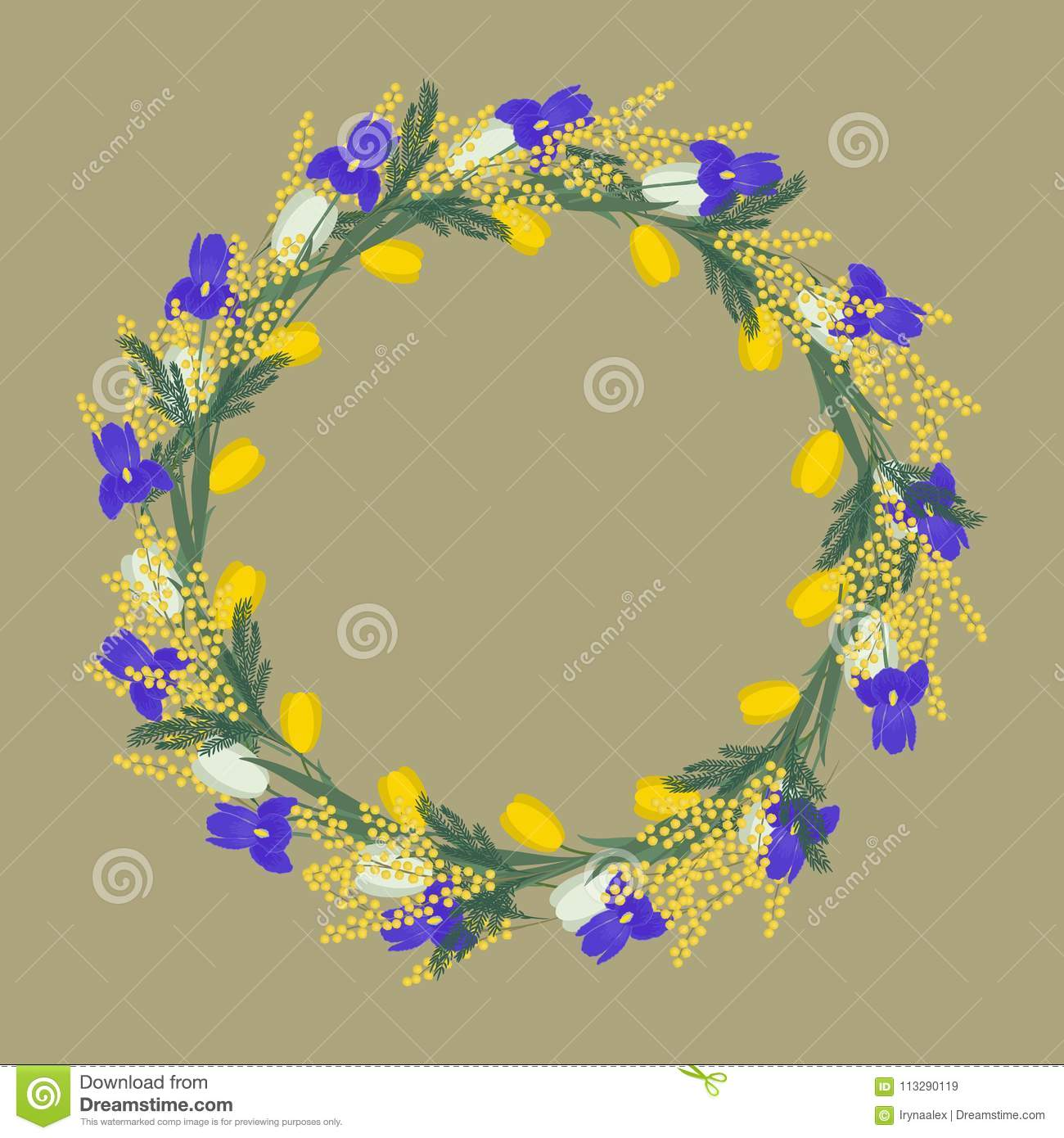 Floral round frame from spring flowers yellow and white flowers of download floral round frame from spring flowers yellow and white flowers of tulips purple mightylinksfo