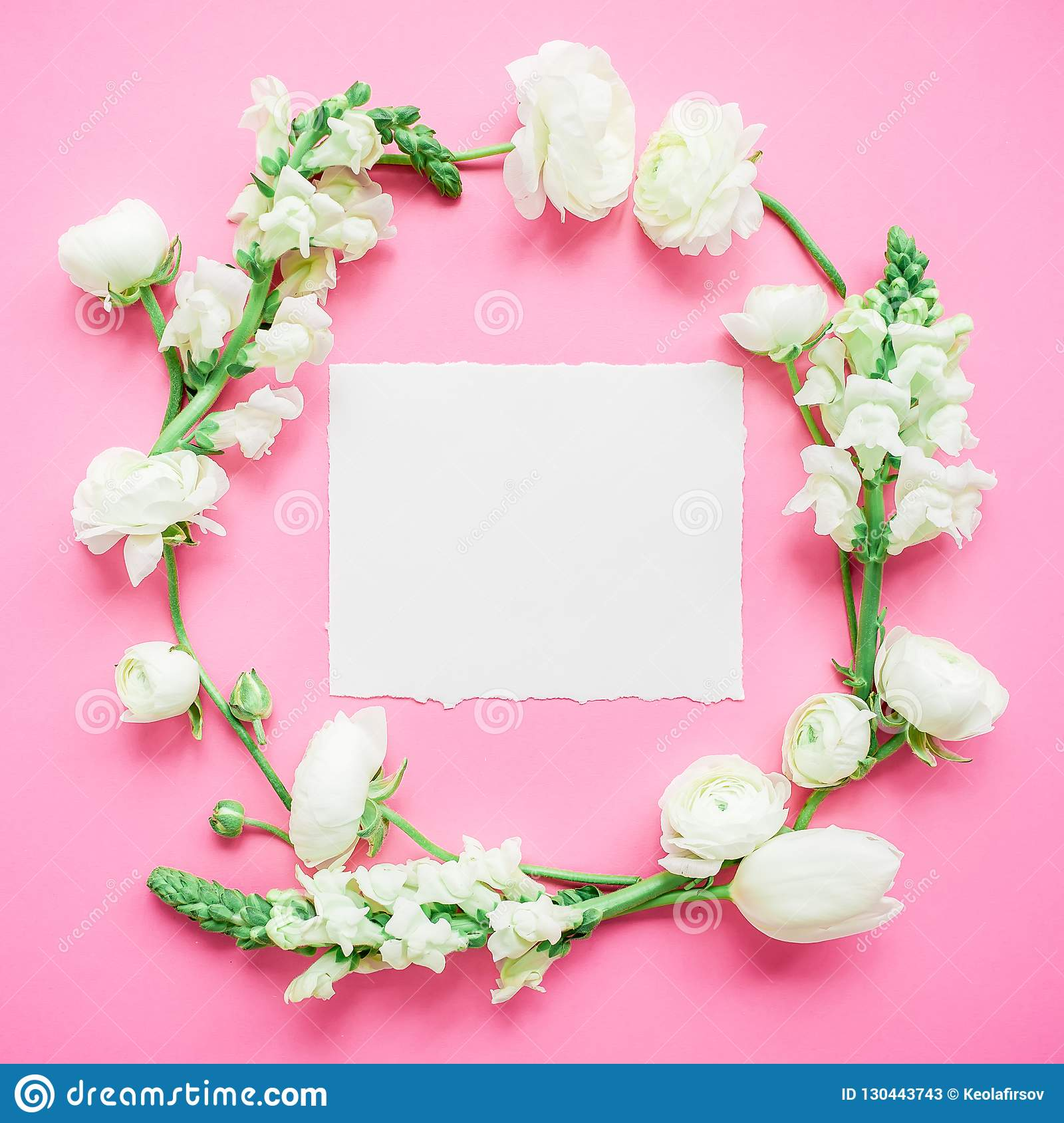 Floral Round Frame Of White Flowers With Paper Postcard On Pink