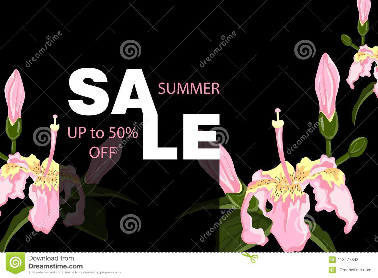 Tropical vector sale design with bright hibiscus flowers and exotic exotic hawaiian vector background summer sale concept background with tropical flowers template vector izmirmasajfo