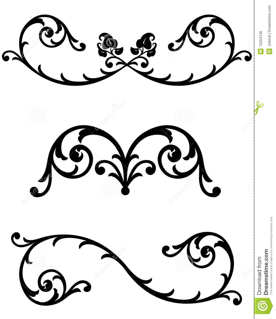 Antique Scroll Line: Floral Scroll Line Rules Stock Photo