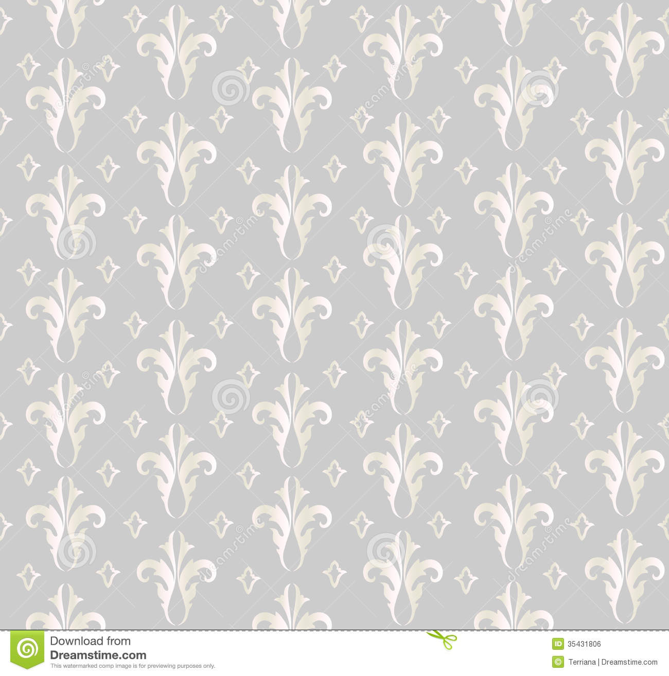 Floral Seamless Background. Abstract Grey And White Floral