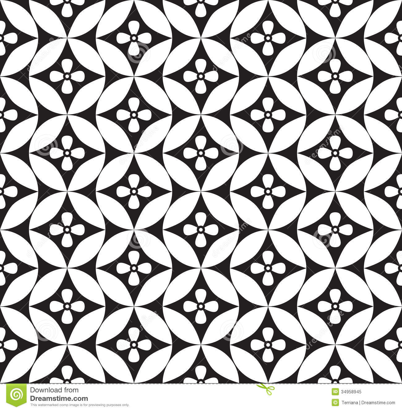 Floral Seamless Background Abstract White And Black Geometric