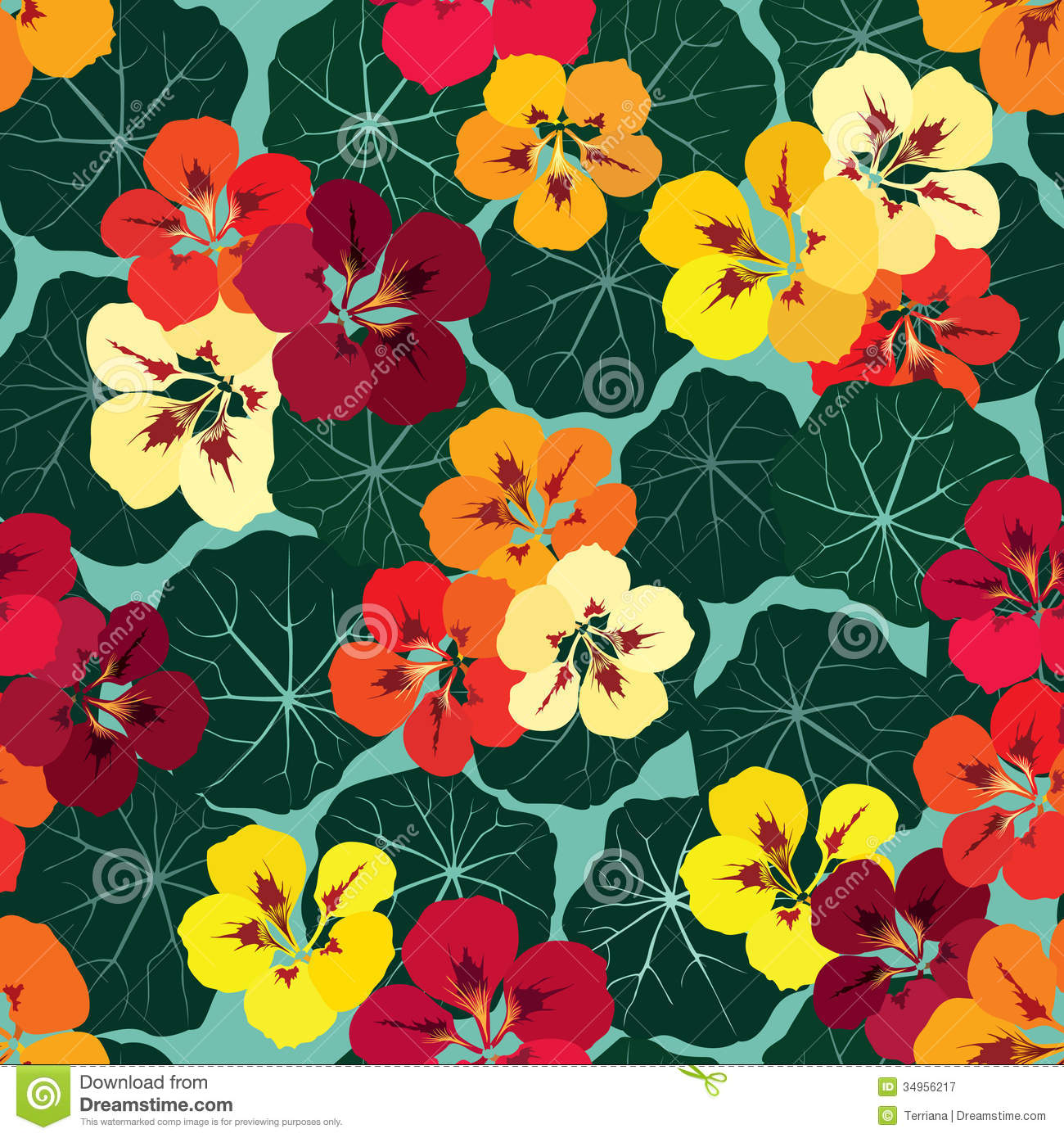 Floral Seamless Background. Bright Flower Pattern. Stock ...