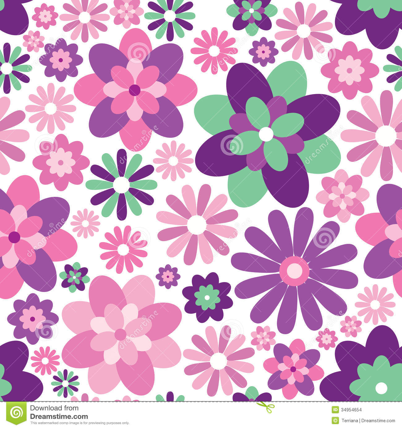 Floral Seamless Background. Gentle Flower Pattern. Stock