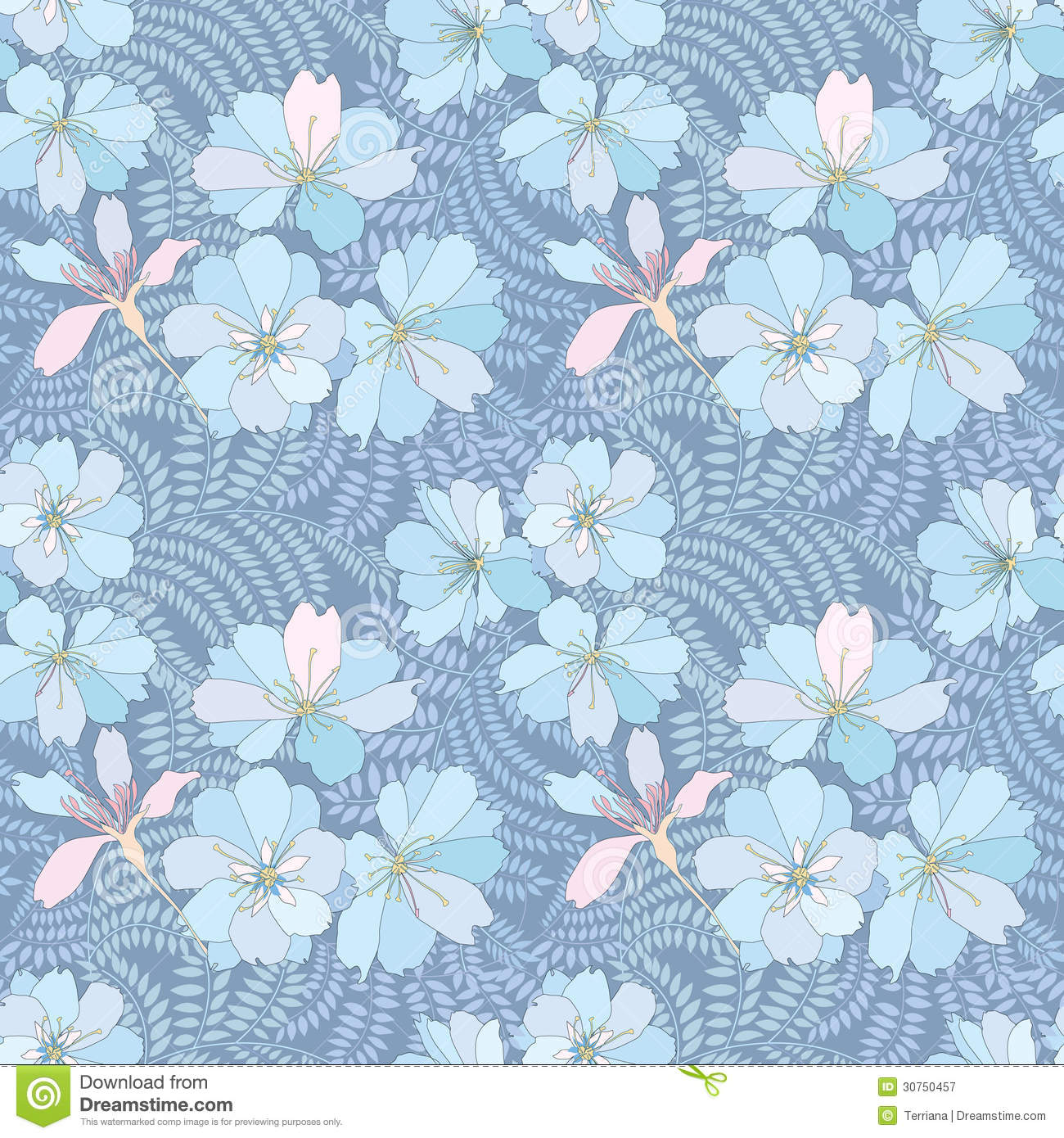 Floral Seamless Background Gentle Flower Pattern Royalty