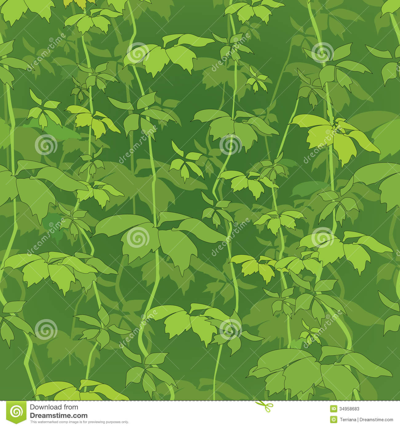 Floral Seamless Background. Nature Green Leaf Texture ...