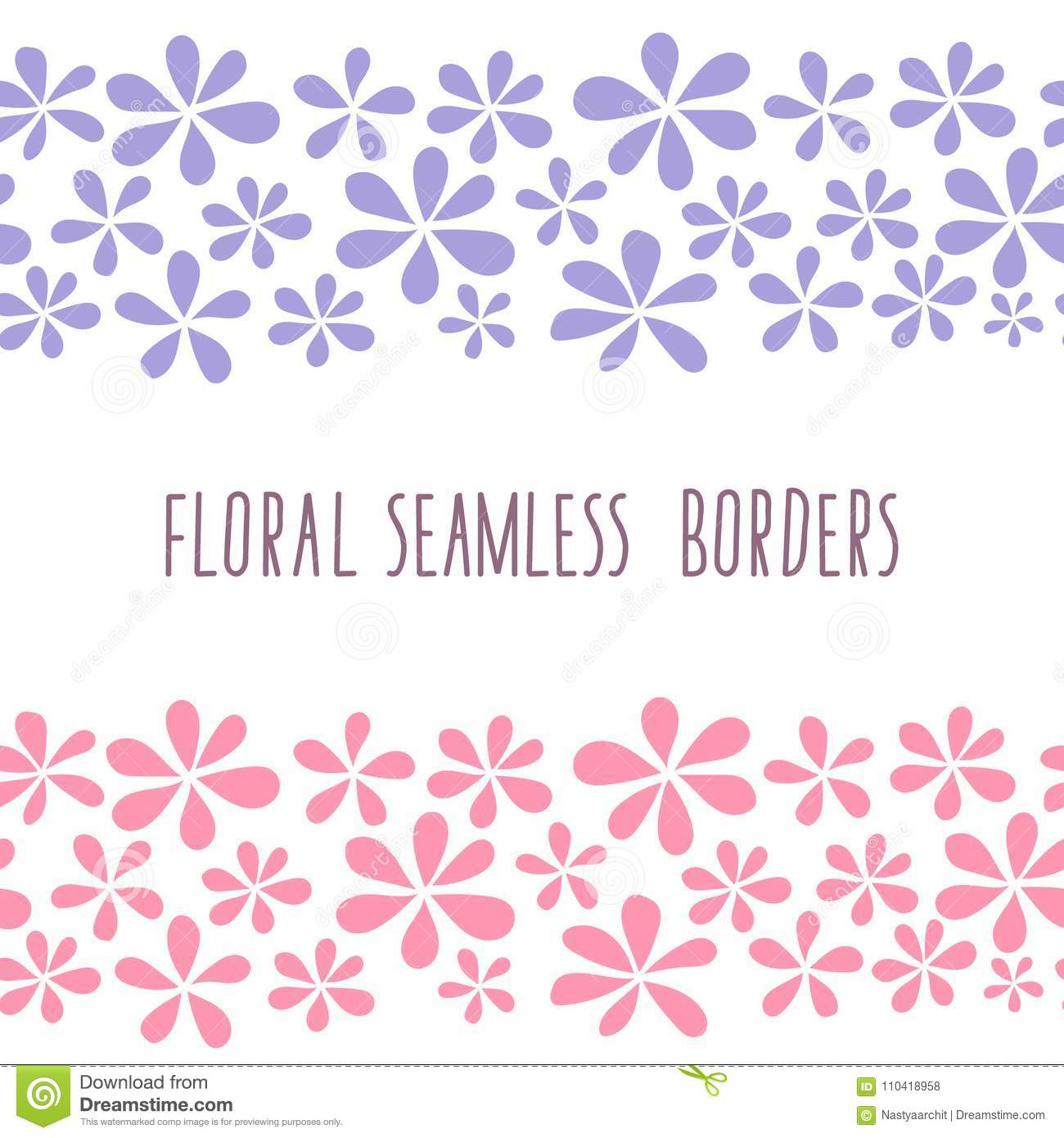 Floral Seamless Borders, Blue And Pink Flowers Stock Illustration ...