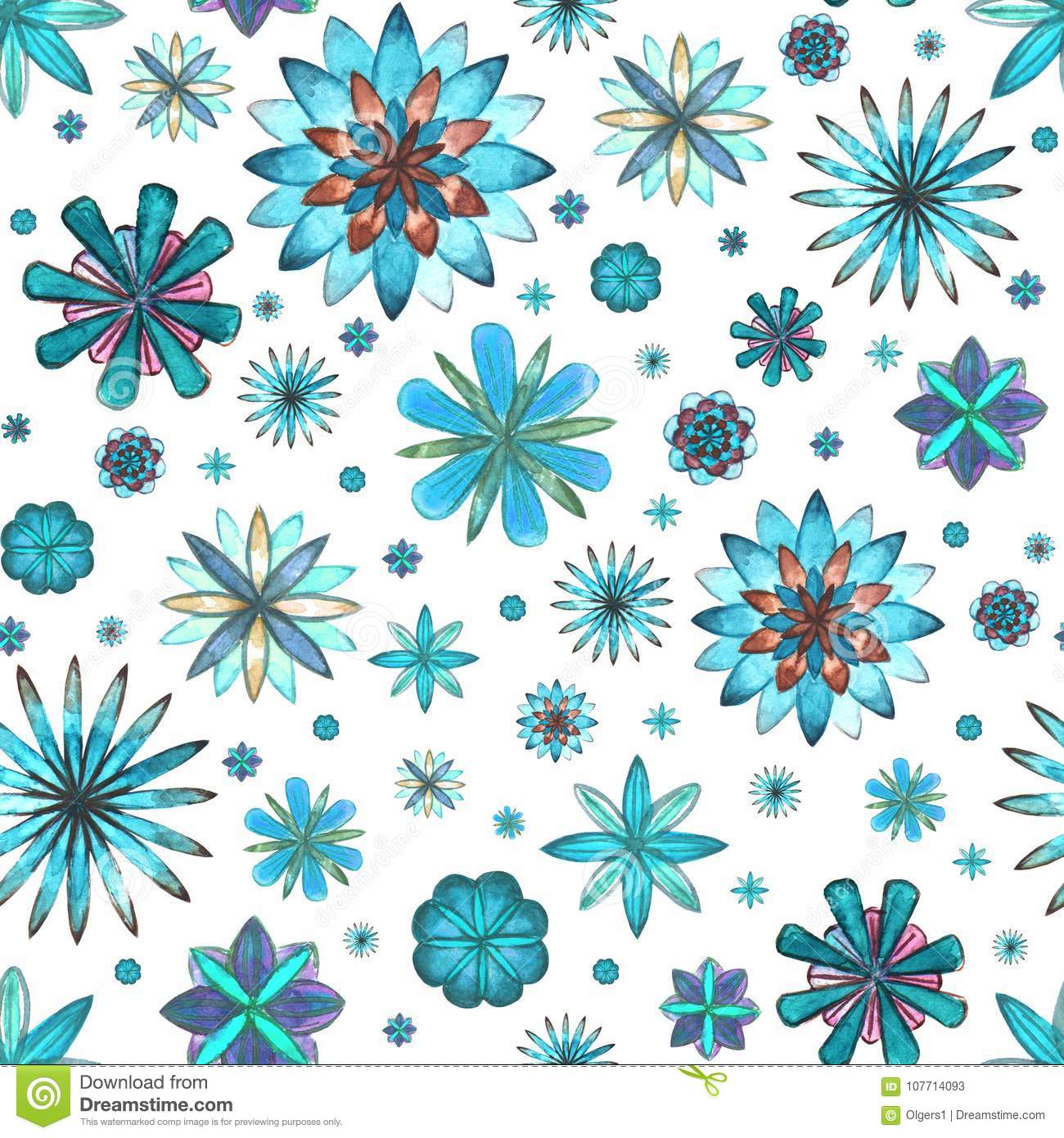 The Texture Of Teal And Turquoise: Floral Seamless Ethnic Boho Pattern Stock Illustration