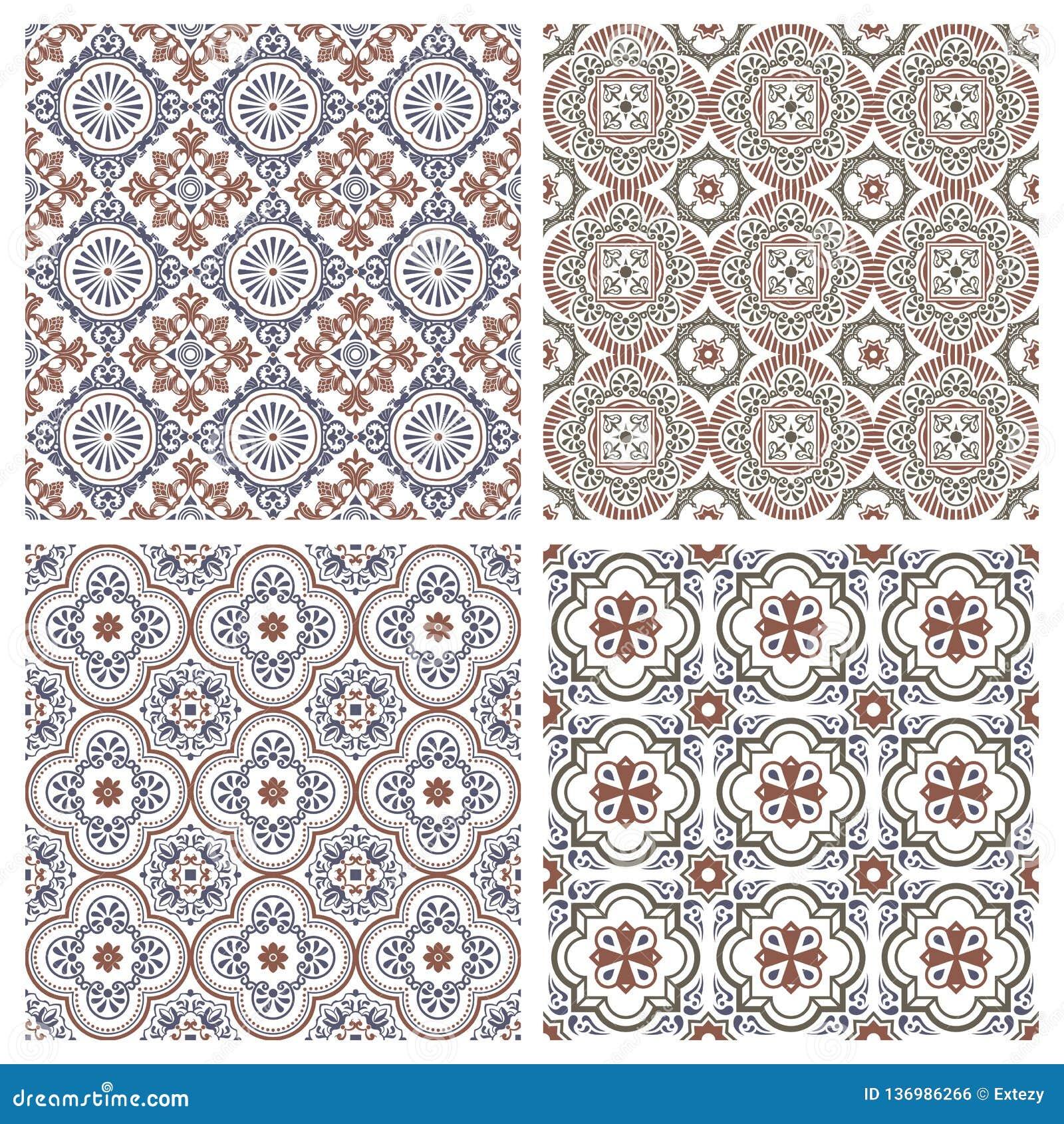 Floral Seamless Mosaic Tile Vector Ceramic Vintage Pattern