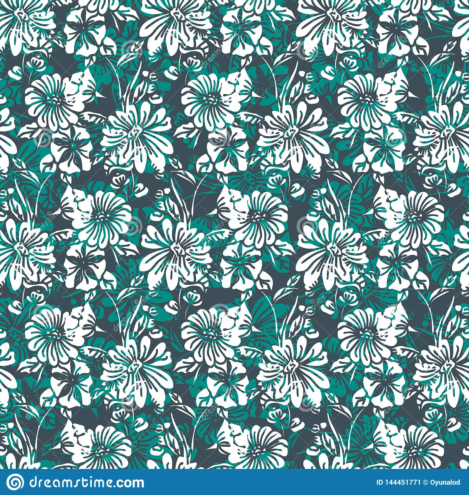 Floral Seamless Pattern With Abstract Leaves Flowers Petunias And Daisies In Shades Of Green White And Black Stock Vector Illustration Of Color Design 144451771