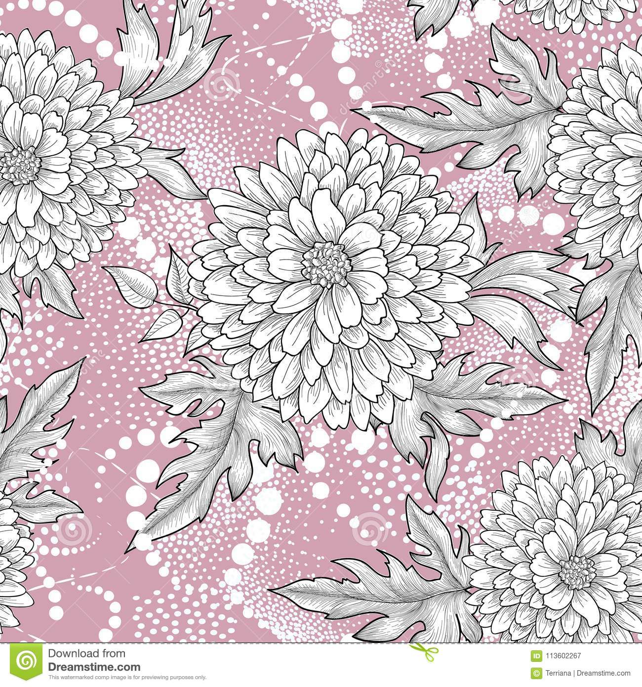 Floral seamless pattern. Abstract ornamental flower background