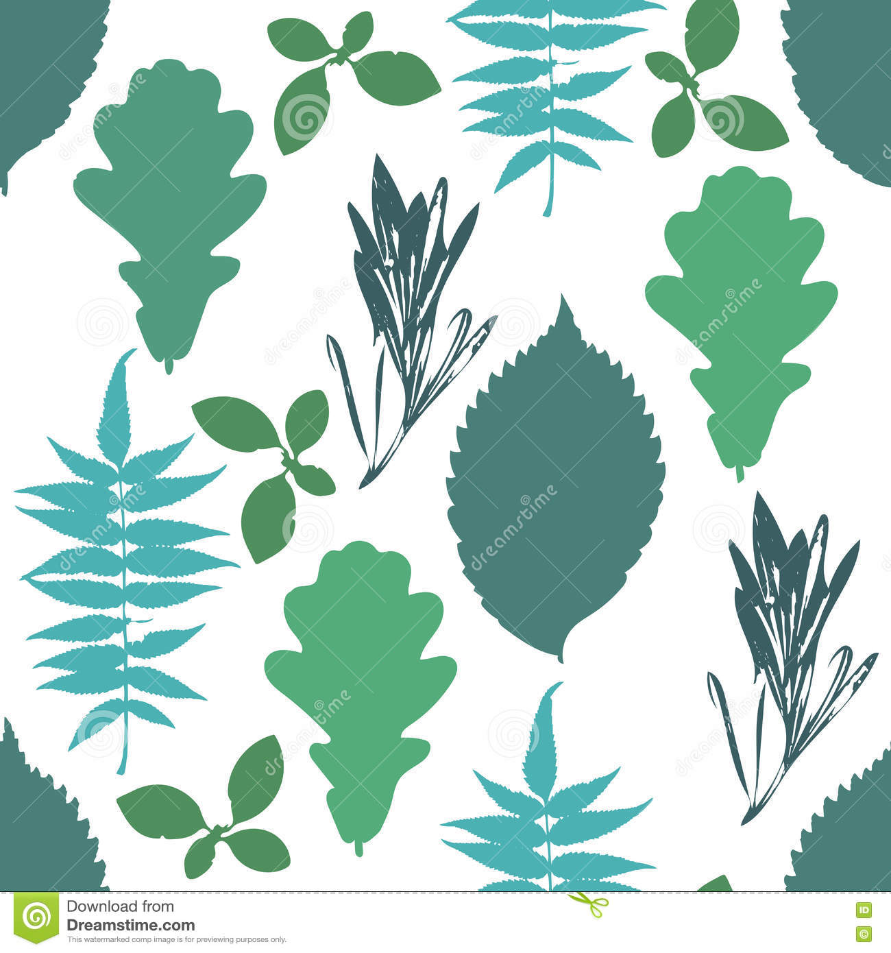 Floral seamless pattern with autumn grunge blue, green tree leaves on white background.