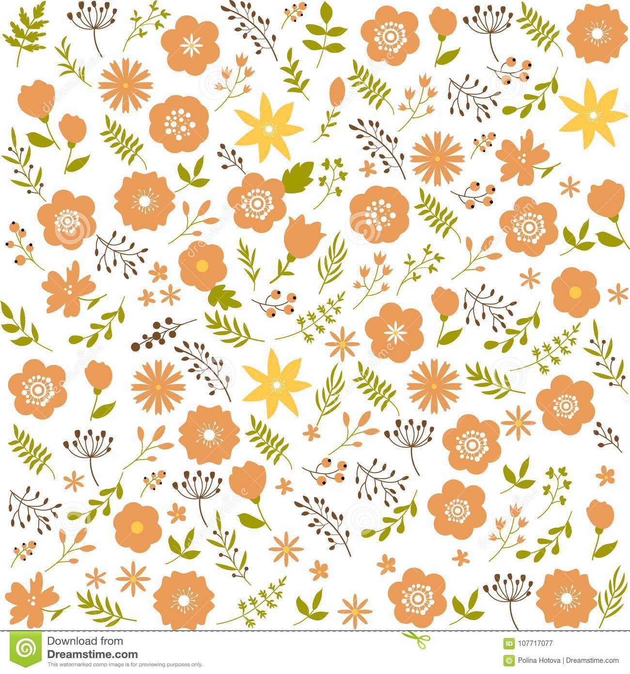 Floral Seamless Pattern Background Spring Design Decorative Texture Wallpaper Cute Flowers Leafs Stylilezd In Folk Ethnic Artwork