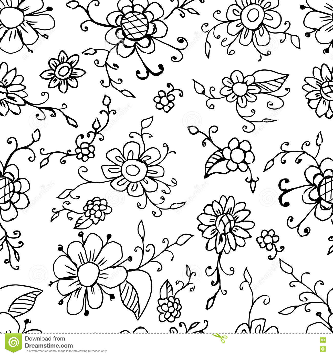Vintage Seamless Black And White Floral Pattern. Vector