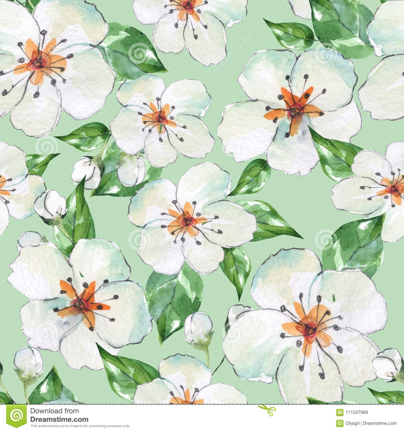 Floral seamless pattern 4 blooming apple tree stock illustration watercolor background with white flowers mightylinksfo