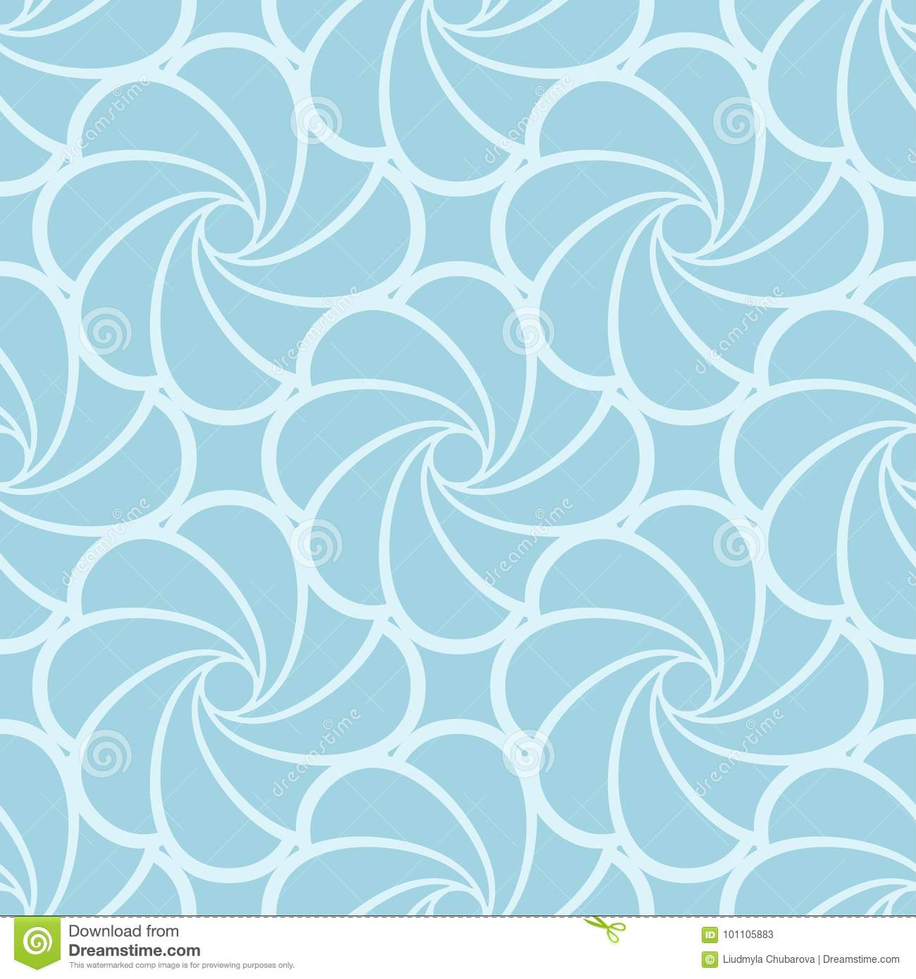 Floral Seamless Pattern Blue Wallpaper Background Stock Vector