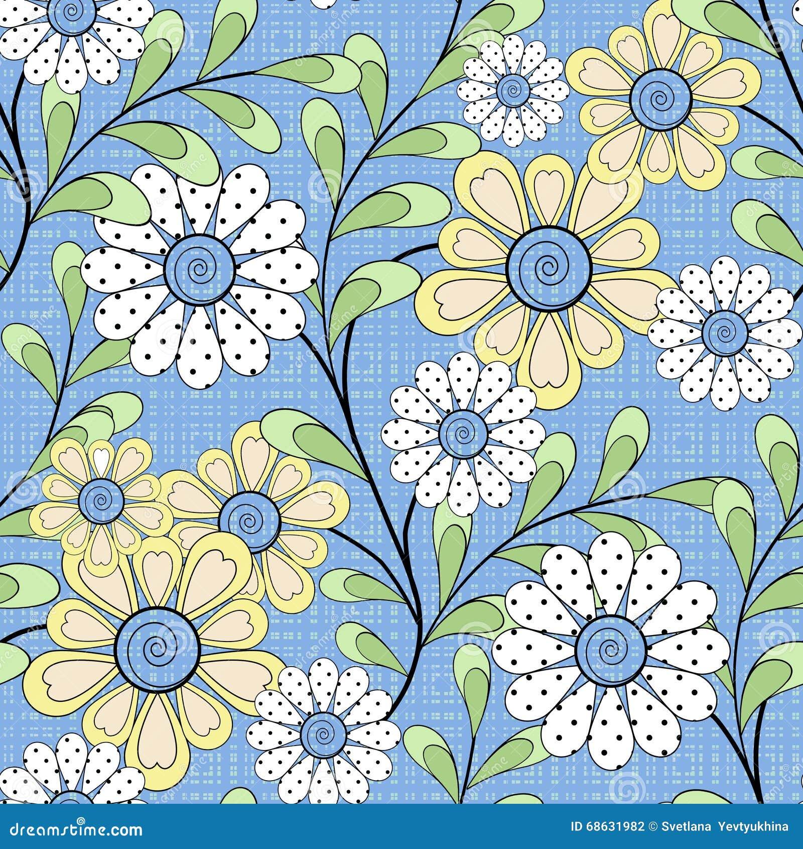 Floral Seamless Pattern Cartoon Cute Flowers Light Blue Background