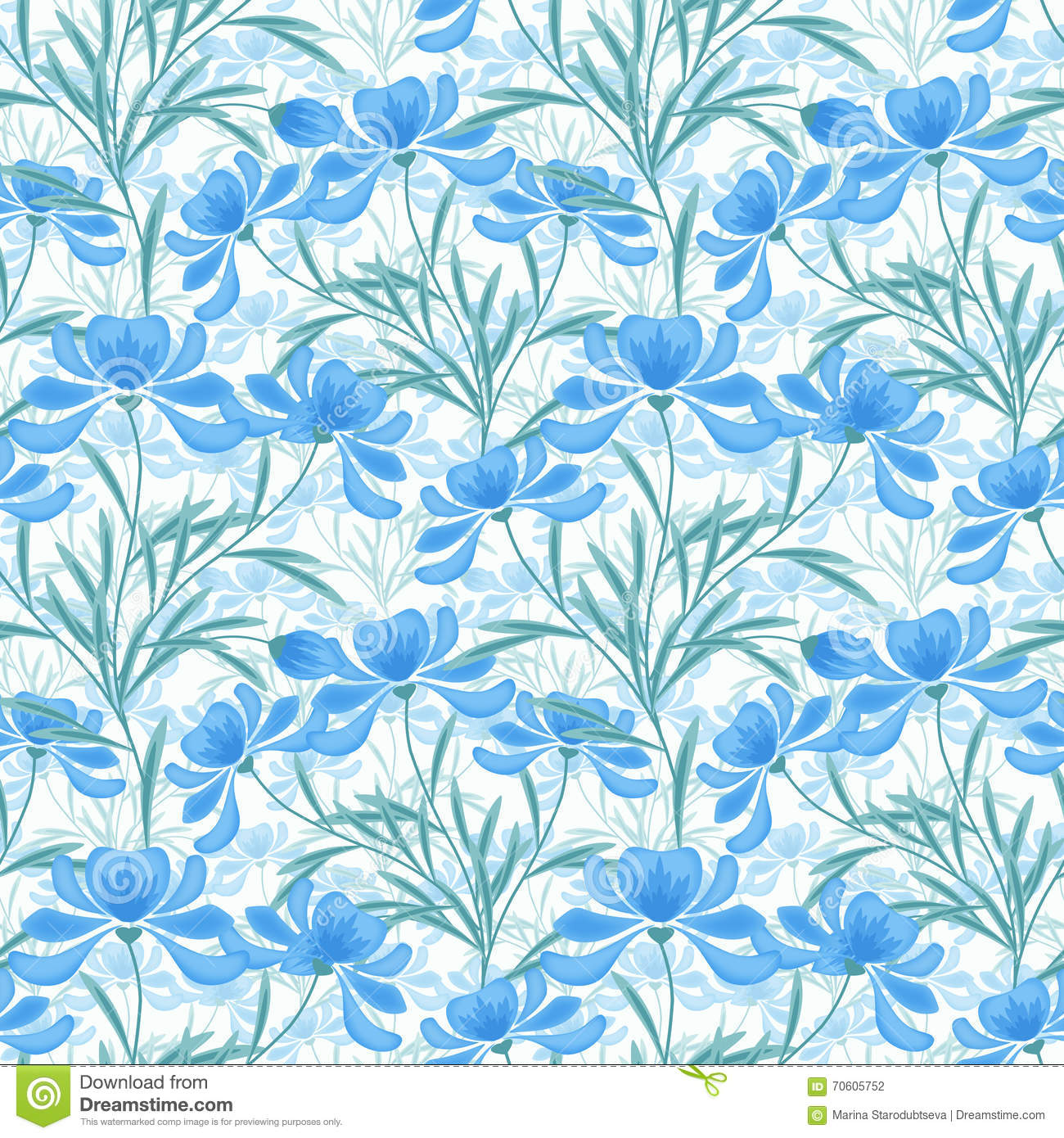 Floral Seamless Pattern Cartoon Cute Light Blue Flowers White Background Retro Style 70605752