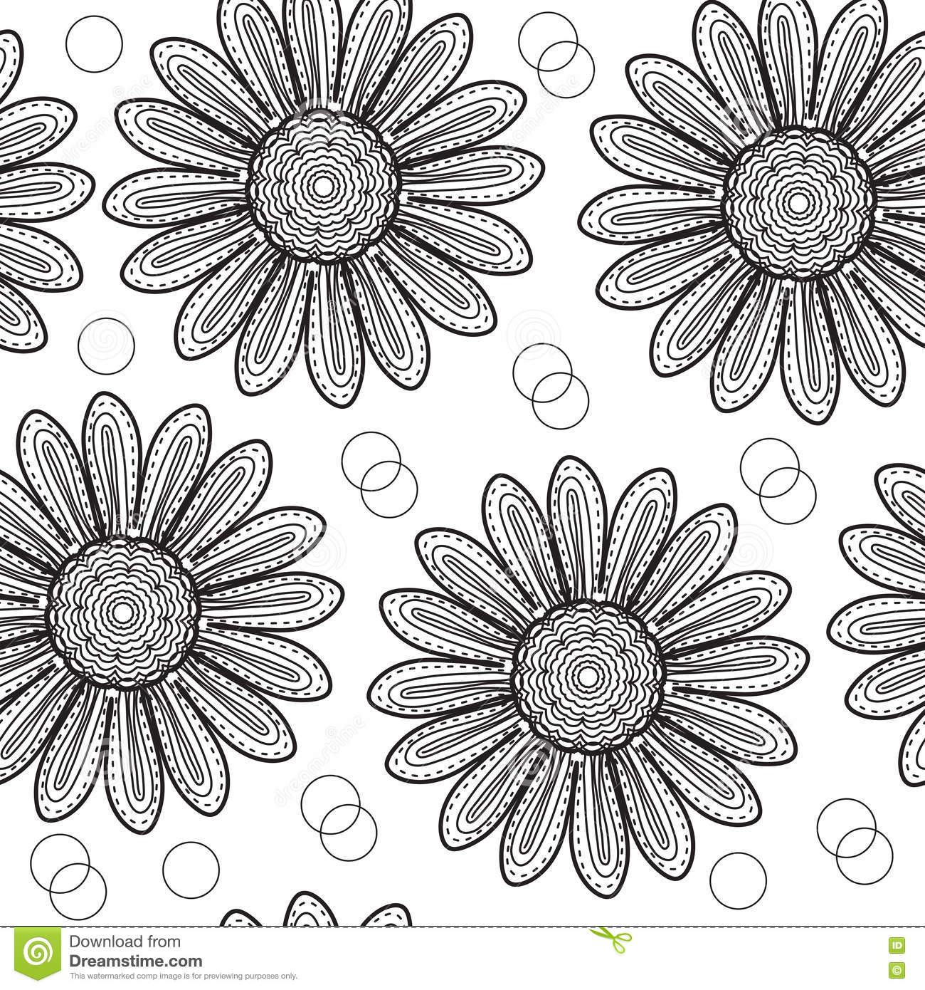 Pink floral seamless vector background floral hrysanthemum seamless - Floral Seamless Pattern Chrysanthemum In The Style Of Hand Drawing Black And White Flowers