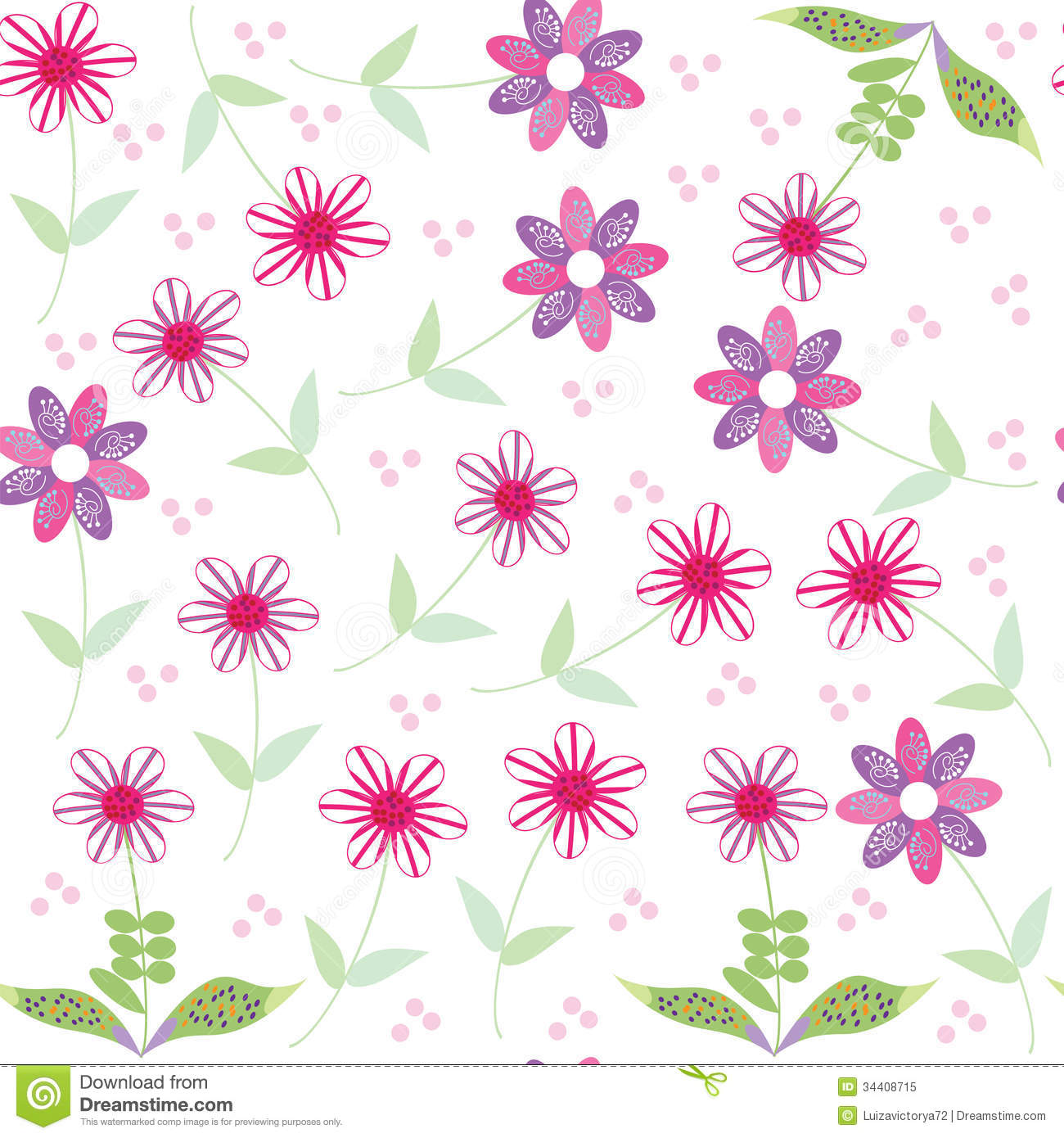 floral seamless pattern with cute abstract flower royalty