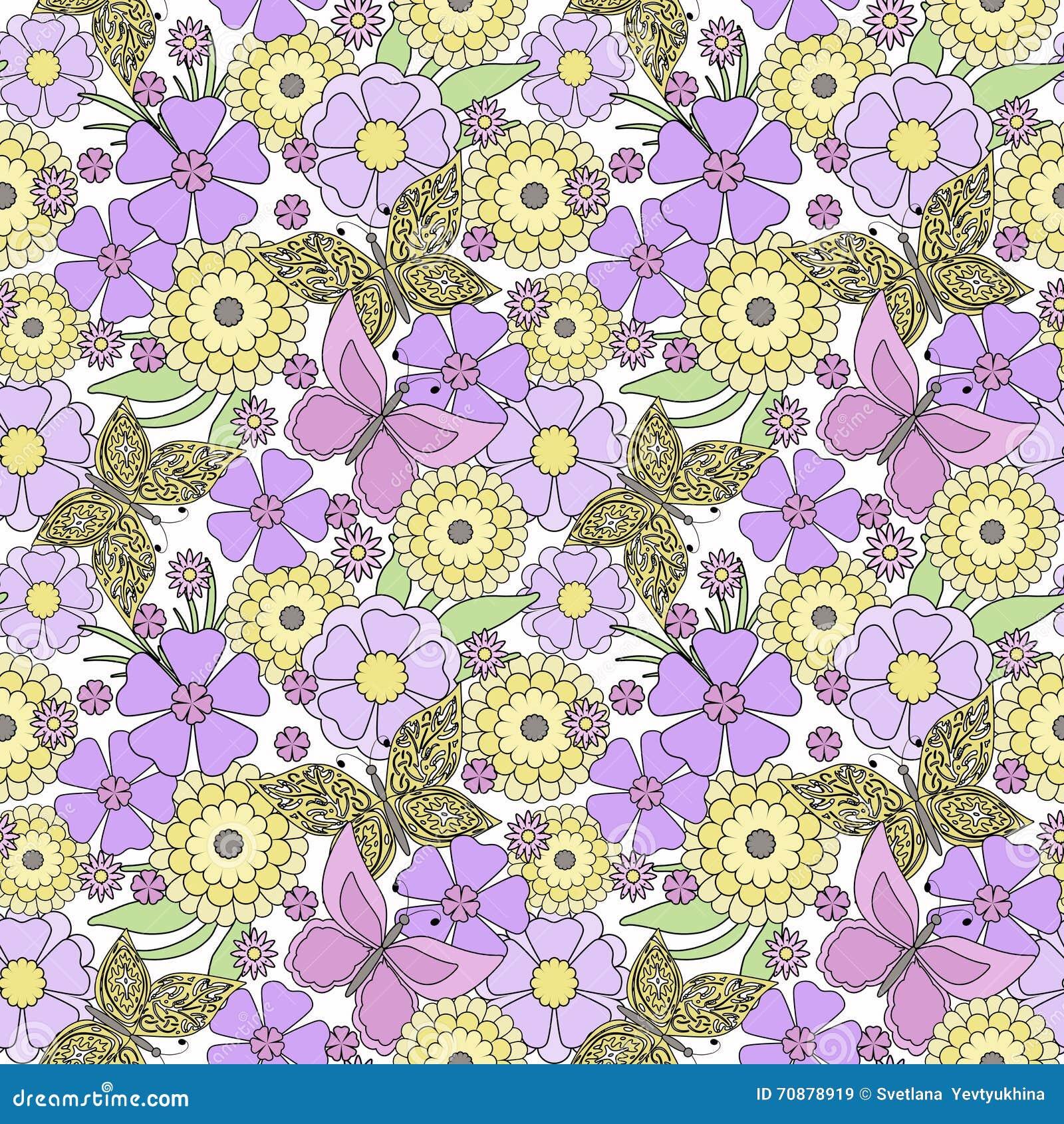 Floral Seamless Pattern Cute Cartoon Flowers With Butterflies Light