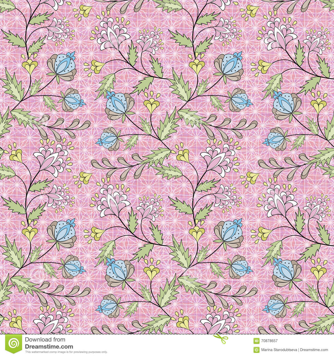 Floral Seamless Pattern Cute Cartoon Flowers Pink Background Stock