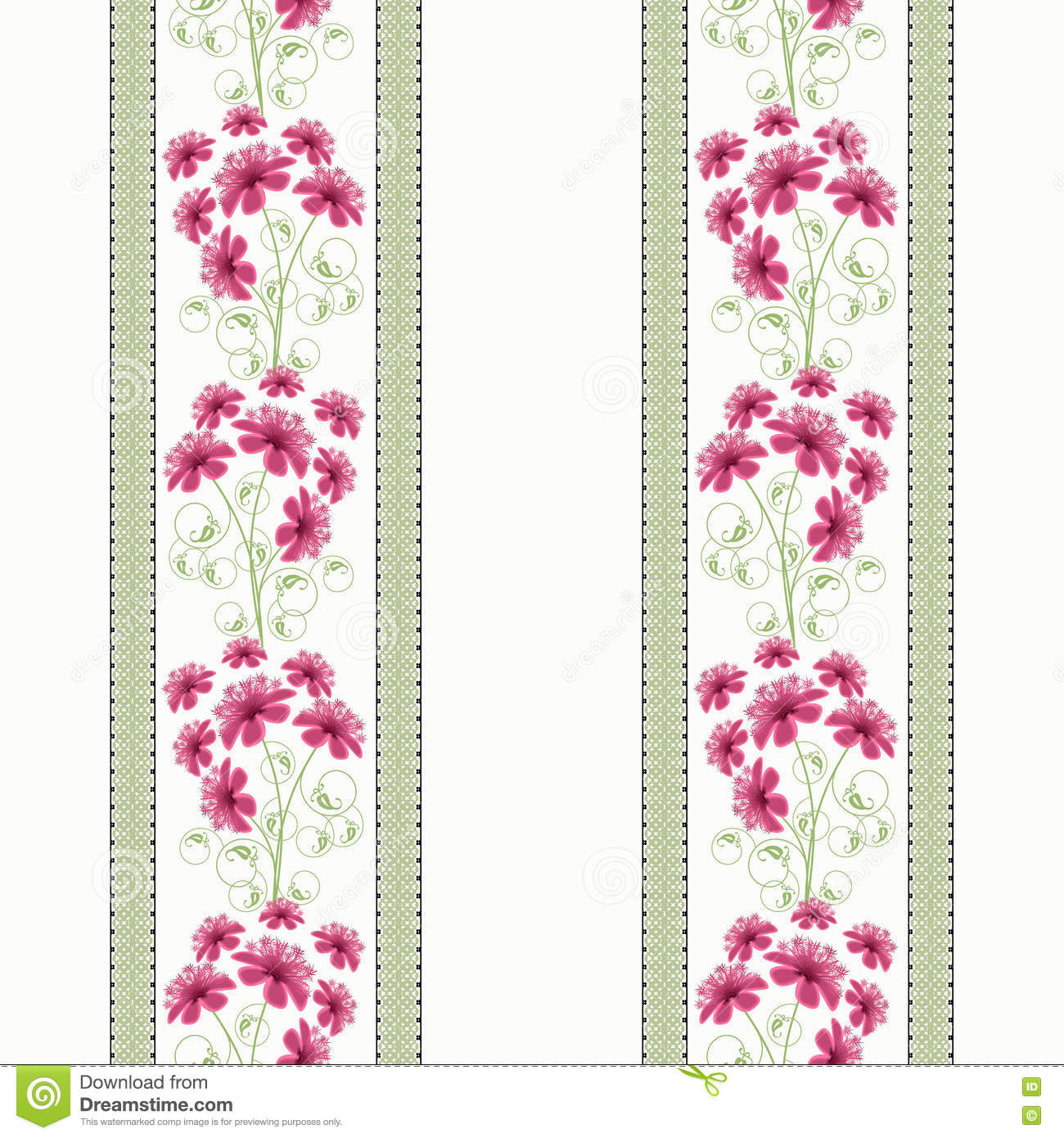 Floral Seamless Pattern Cute Cartoon Flowers White Background