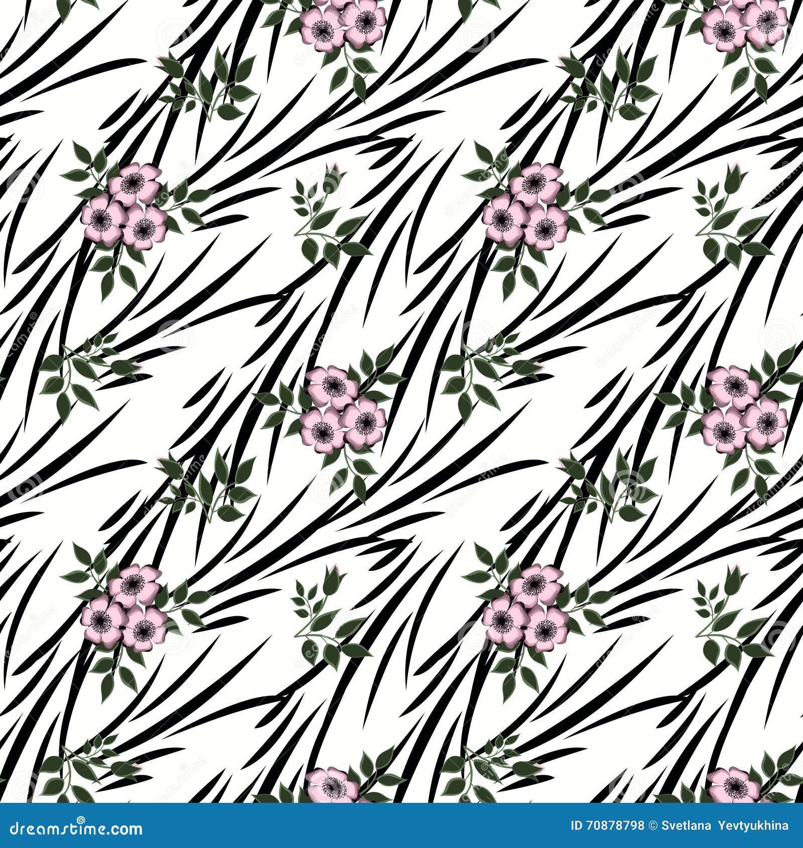Floral seamless pattern cute cartoon flowers white stripe floral seamless pattern in retro style cute cartoon flowers white stripe background izmirmasajfo
