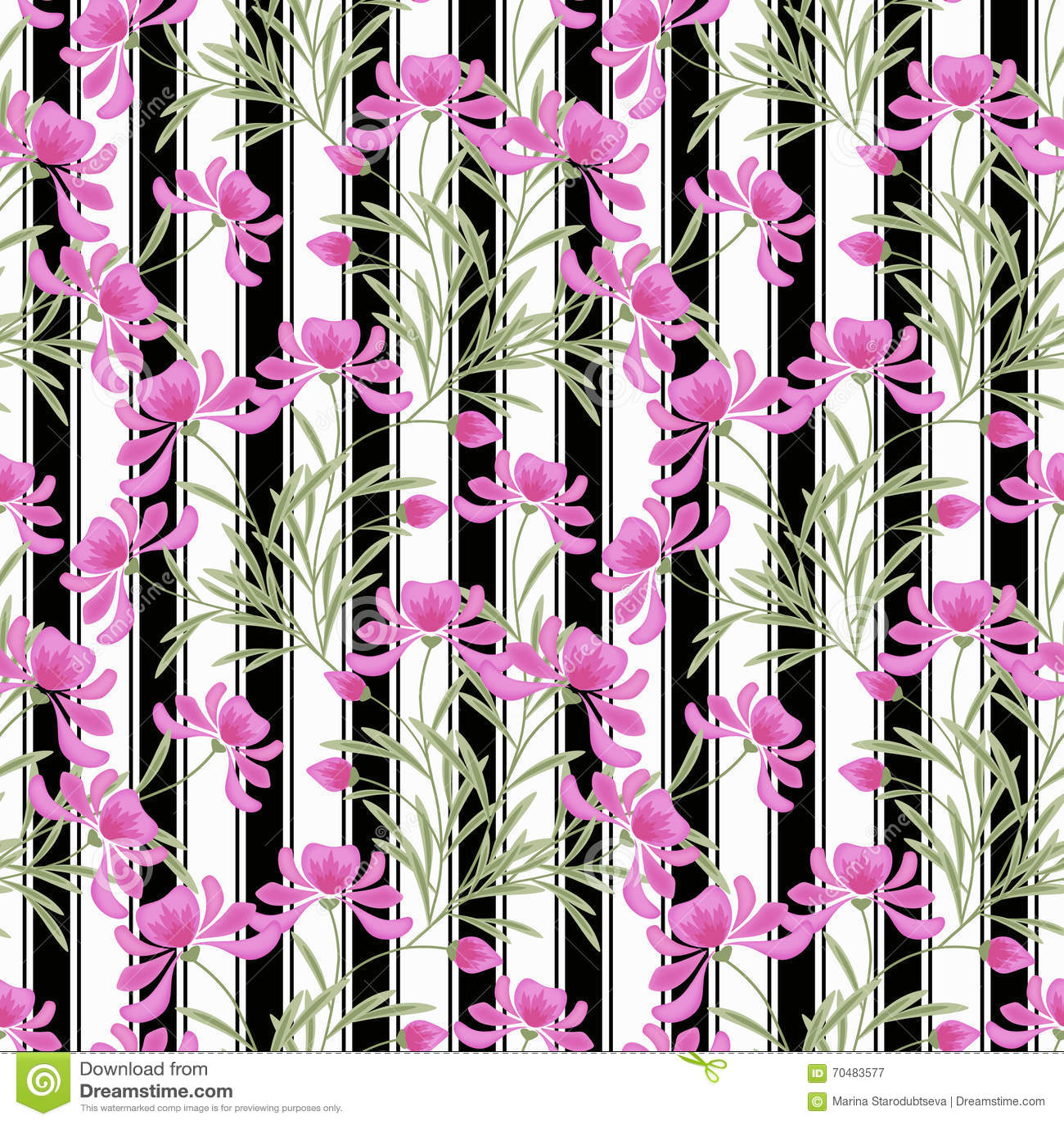Floral seamless pattern cute cartoon pink flowers white black download floral seamless pattern cute cartoon pink flowers white black background striped stock illustration mightylinksfo