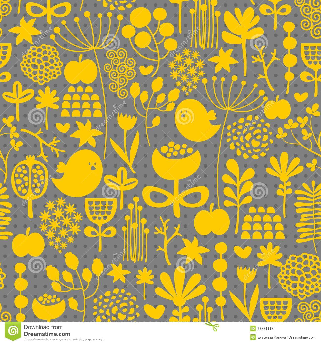 Floral Black And Grey Nature Tattoo: Floral Seamless Pattern With Cute Small Birds. Stock