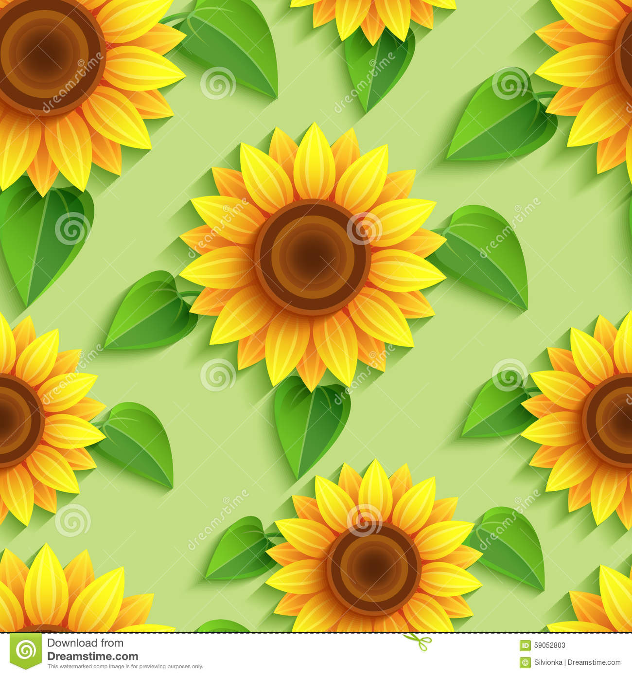 floral seamless pattern with 3d sunflowers stock vector