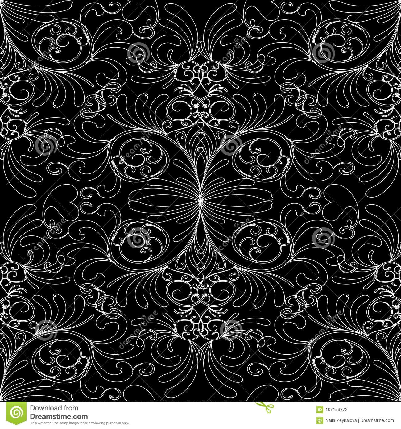 Floral Seamless Pattern Damask Vintage Black White Background