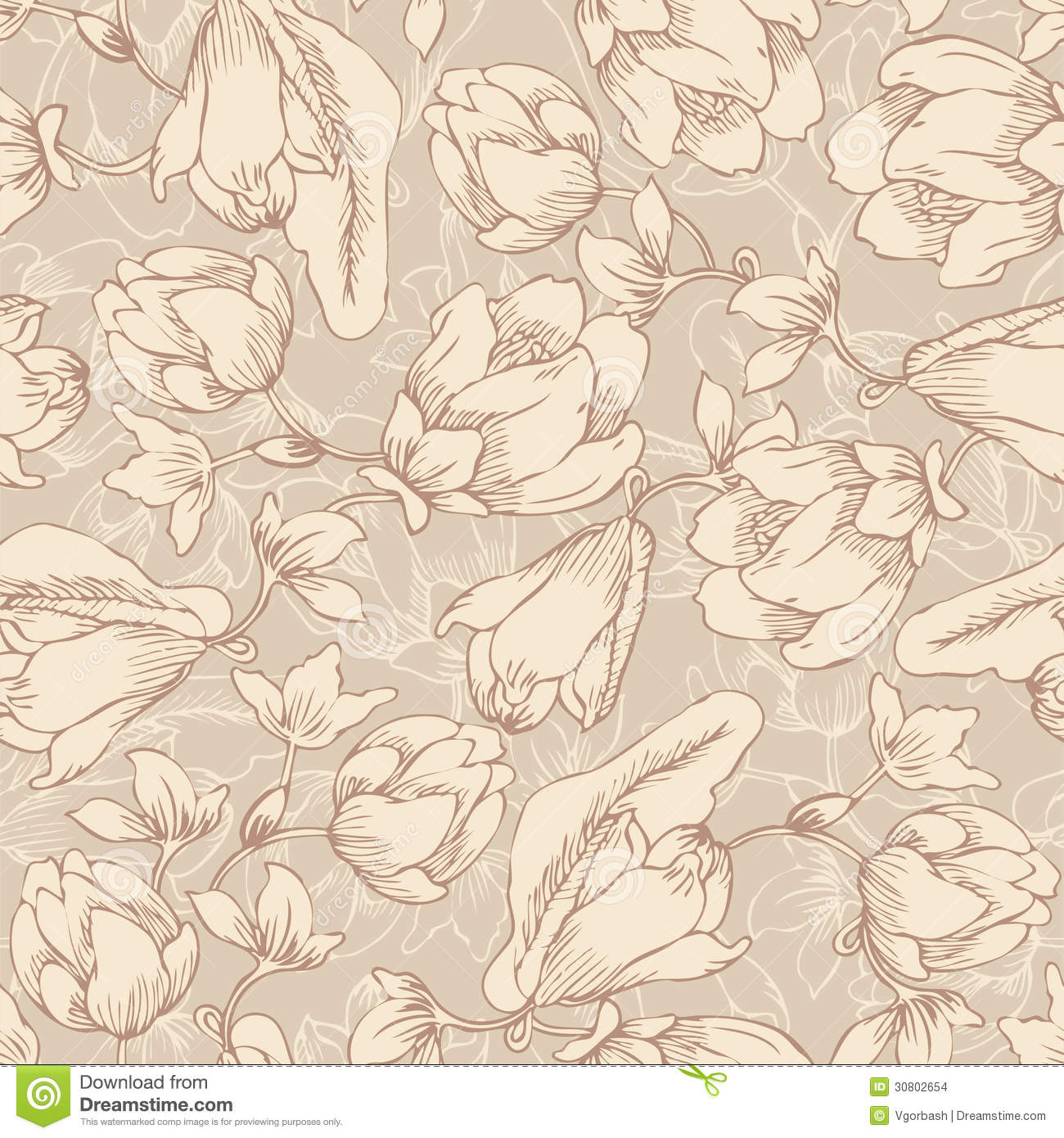 Floral Seamless Pattern Endless Texture With Flowers In Vintage