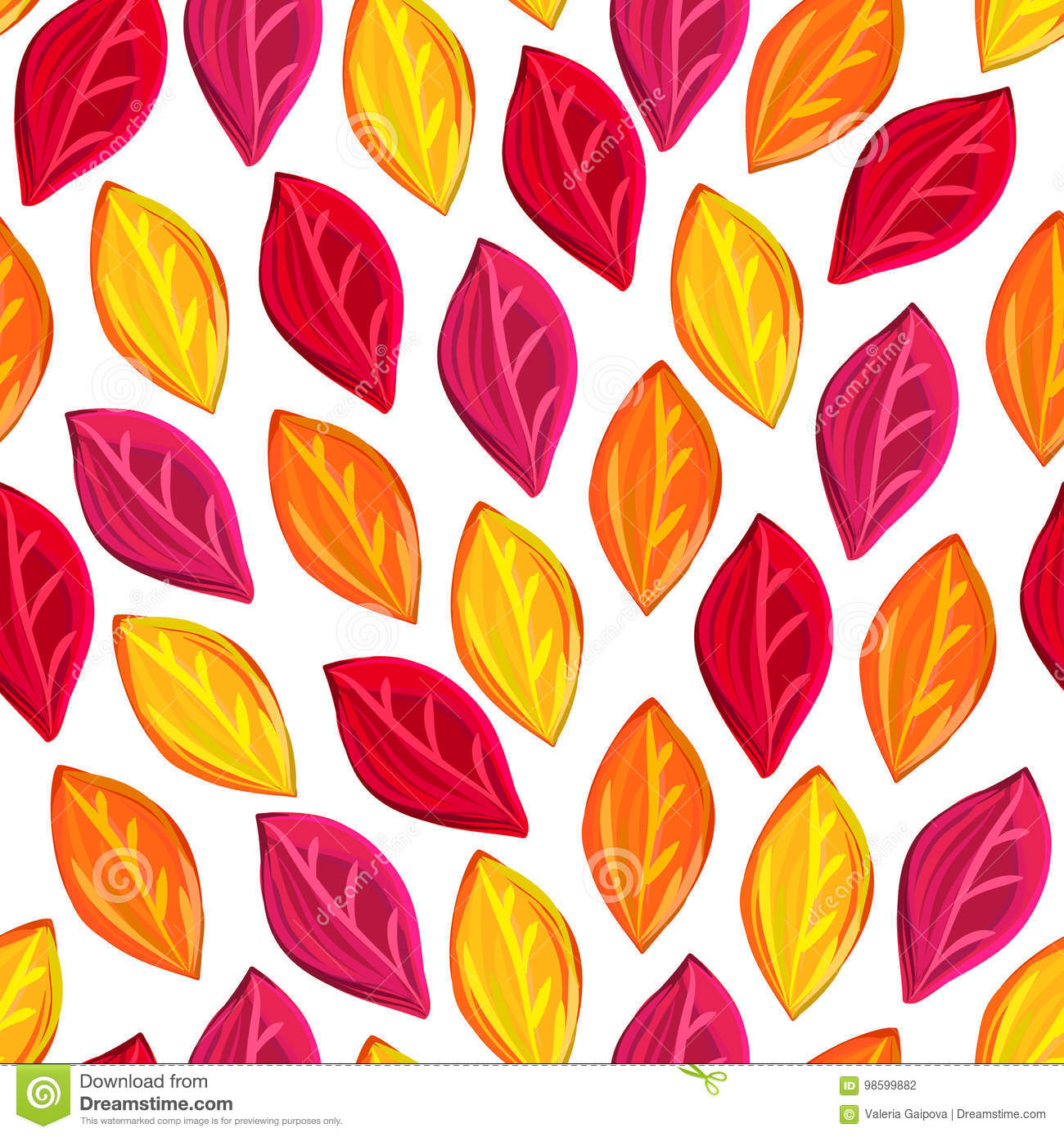 Floral seamless pattern with fallen leaves. Autumn. Leaf fall. Colorful artistic background.