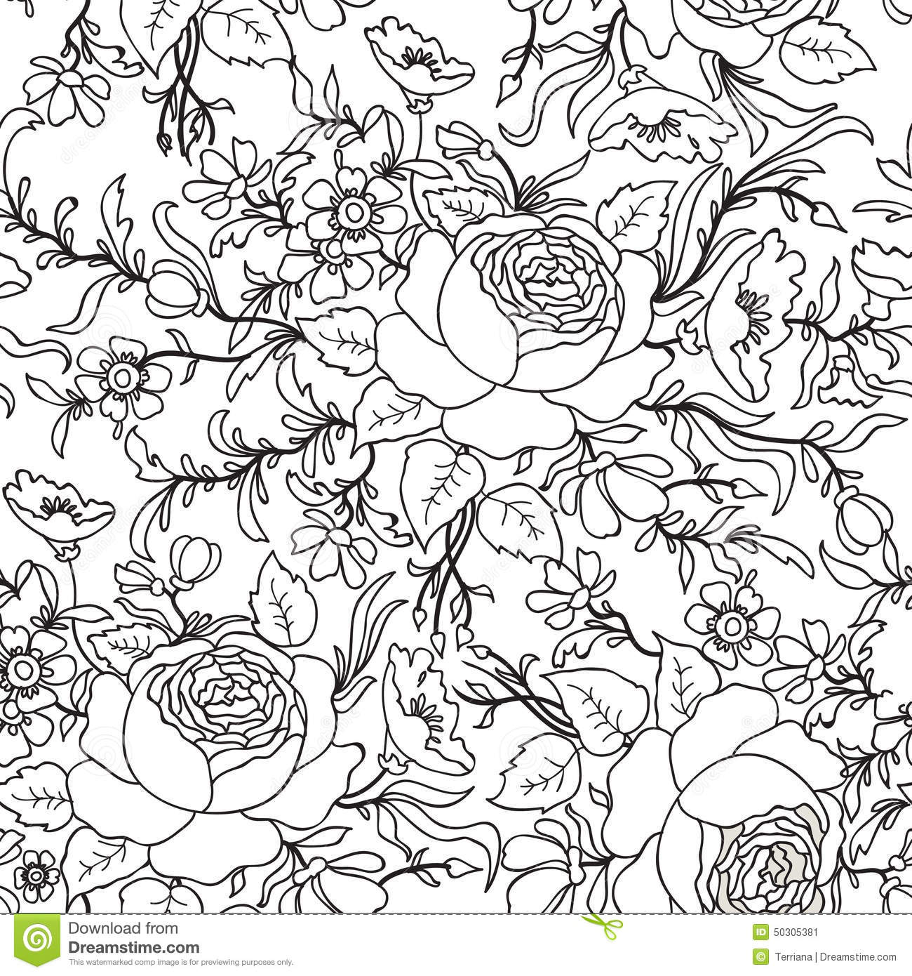 Floral Seamless Pattern. Flower Outline Sketch Background. Stock Image - Image 50305381