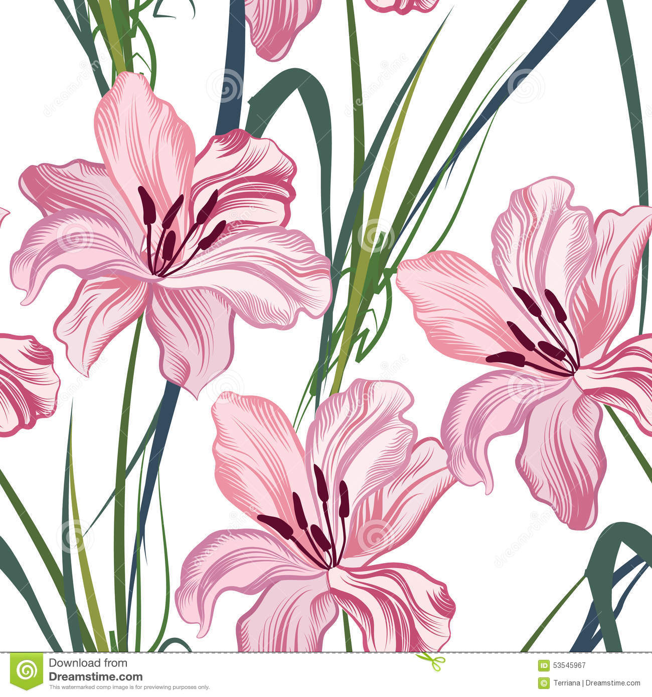 Floral Seamless Pattern Flower Royal Lily Background Stock