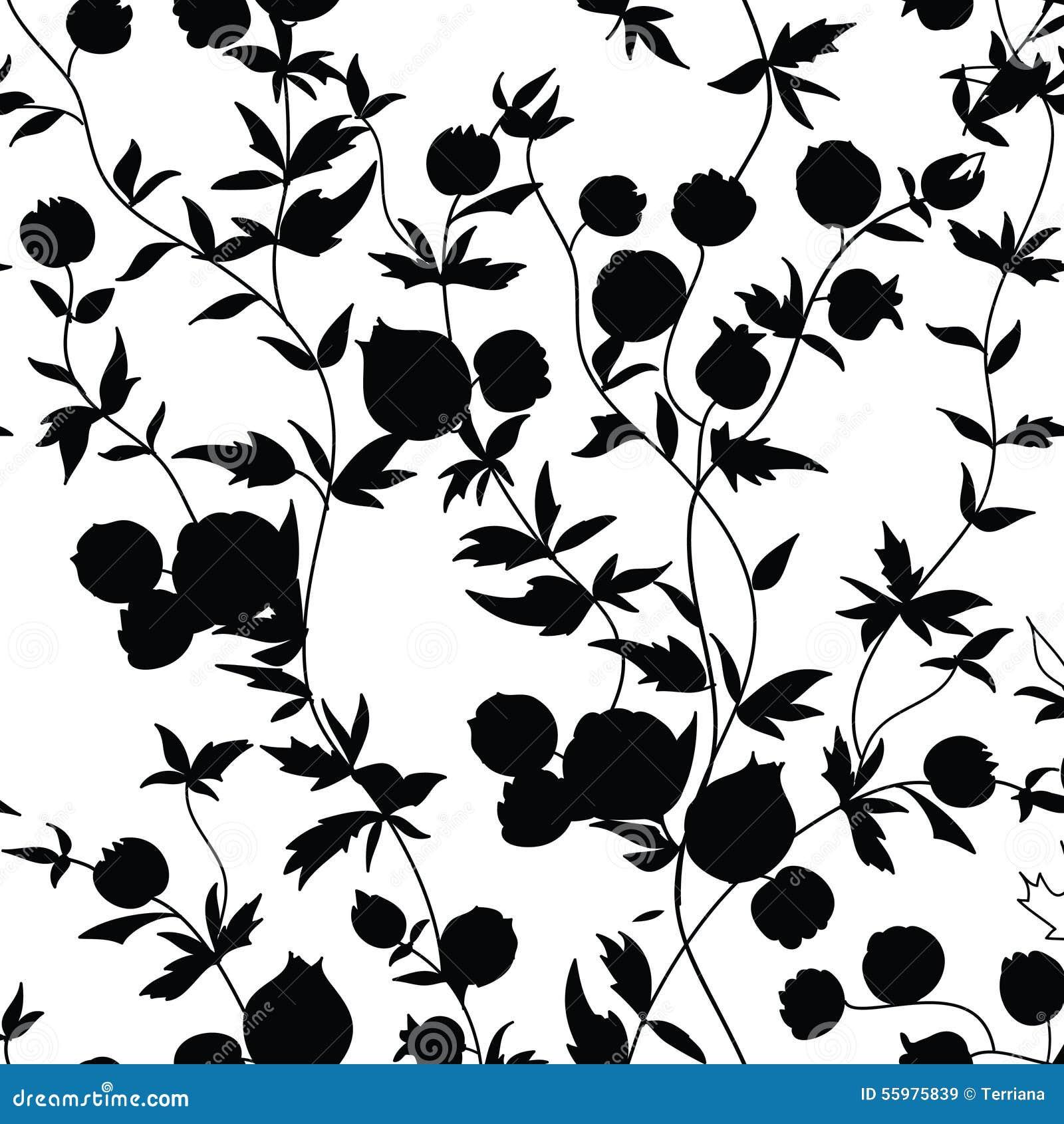 Black Flower Pattern Silhouette Stock Illustration: Floral Seamless Pattern. Garden Flower Silhouette