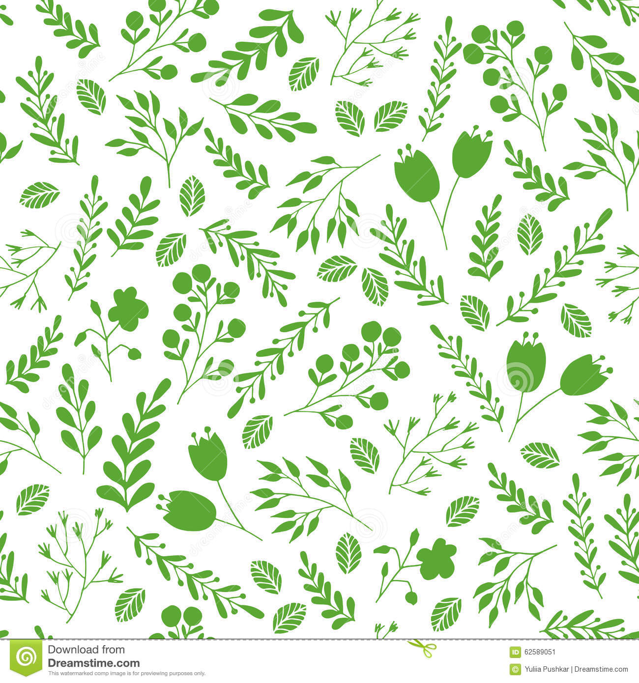 Floral Seamless Pattern With Green Garden Plants Stock