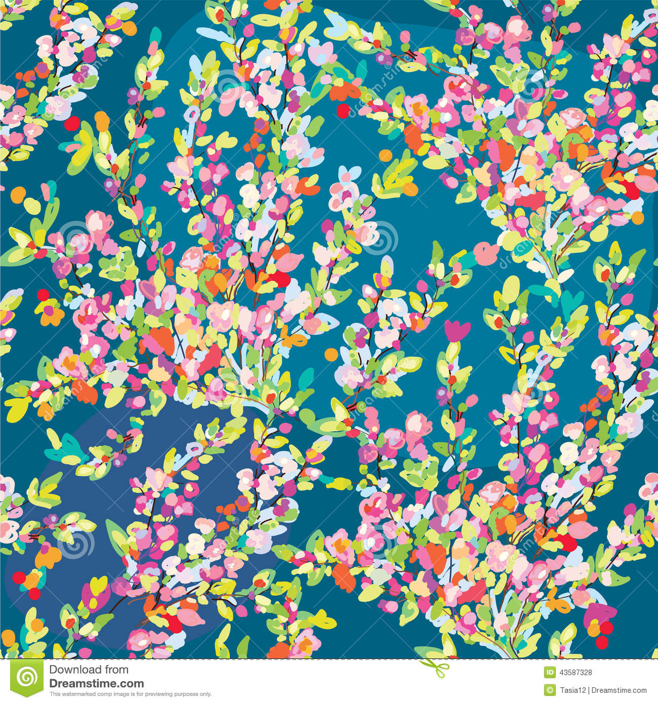 Floral seamless pattern with hand drawn blossom flowers for spring