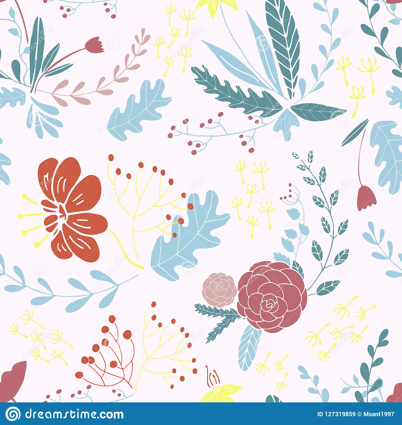Floral seamless pattern in hand drawn design.