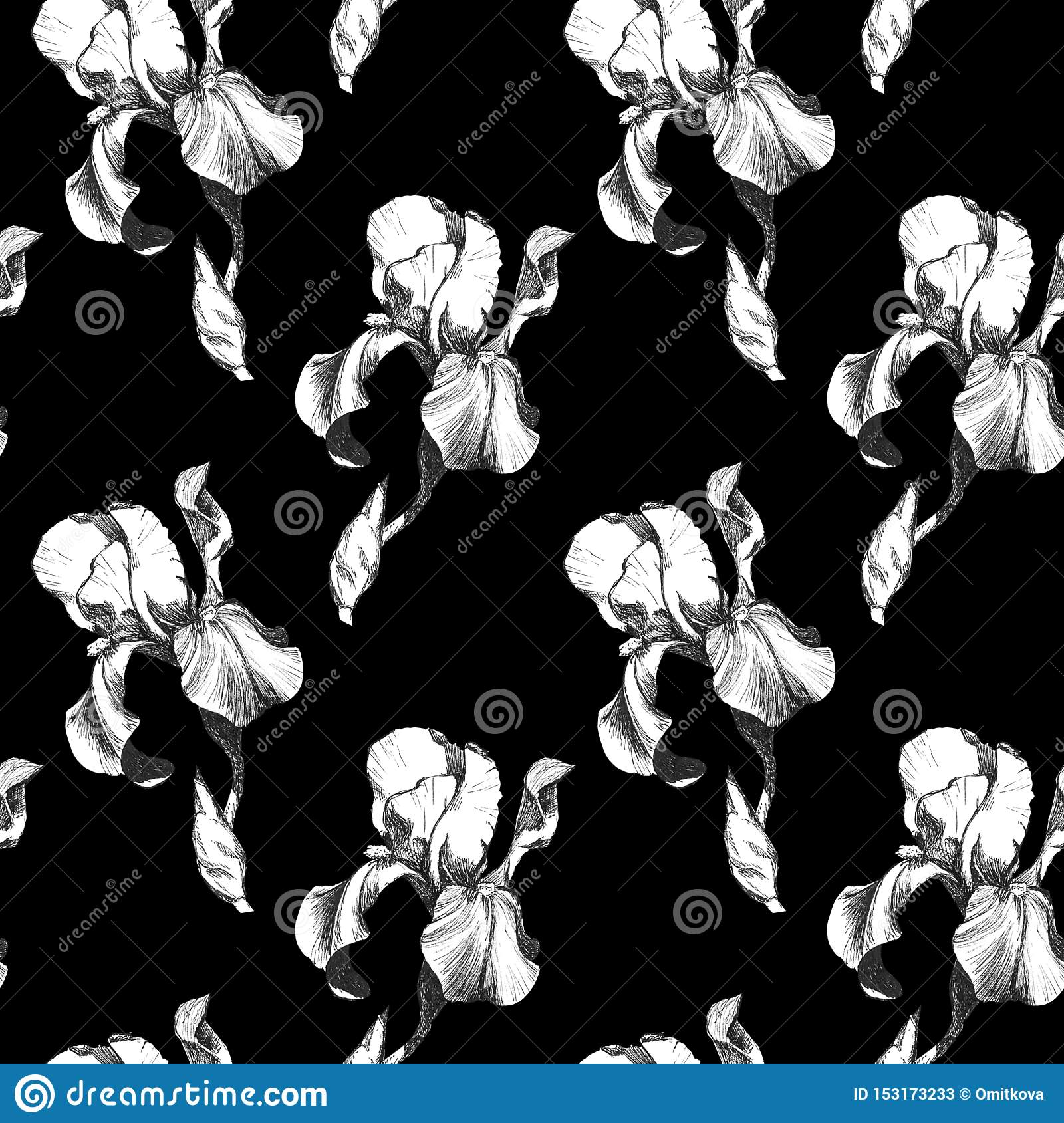 Floral seamless pattern with hand drawn ink iris flowers on black background. Flowers lined up in harmonious geometric