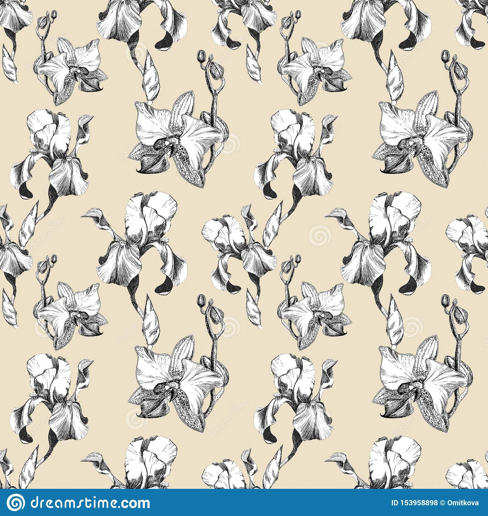 Floral seamless pattern with hand drawn ink iris and orchid flowers on beige background. Flowers lined up in harmonious