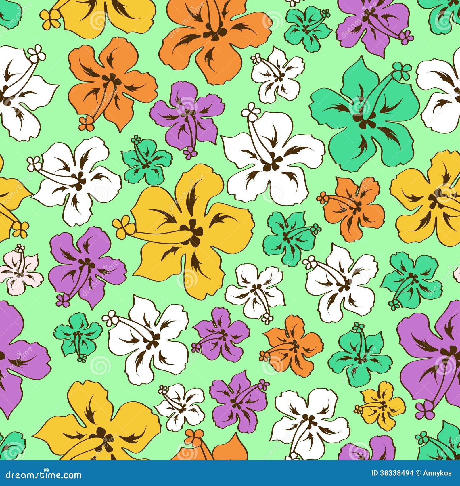 Floral Seamless Pattern Of Hawaiian Hibiscus Stock Vector