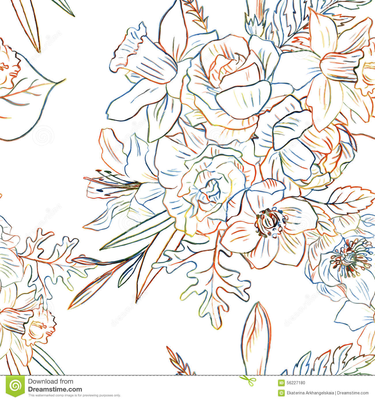Vector Line Drawing Flower Pattern : Floral seamless pattern stock vector image
