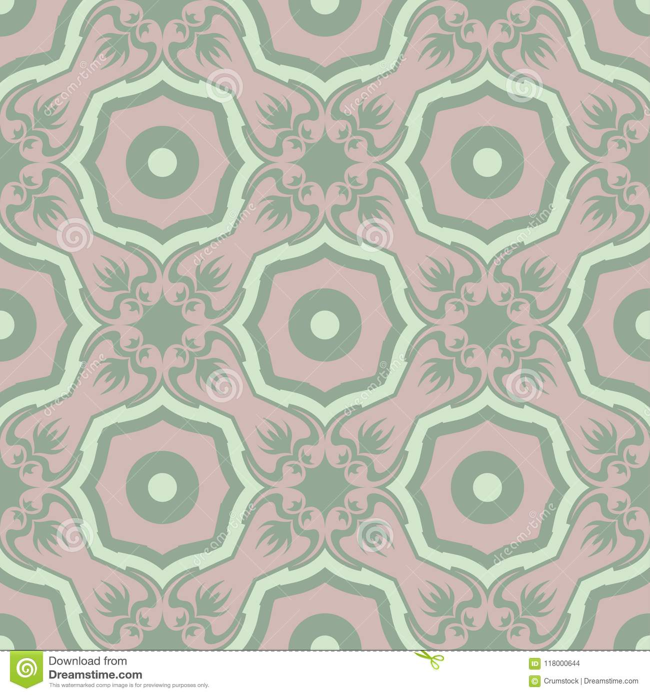 Floral Seamless Pattern Olive Green Background With Pale